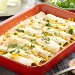 The Wicked Whisk - Chicken Enchiladas with Mexican Corn